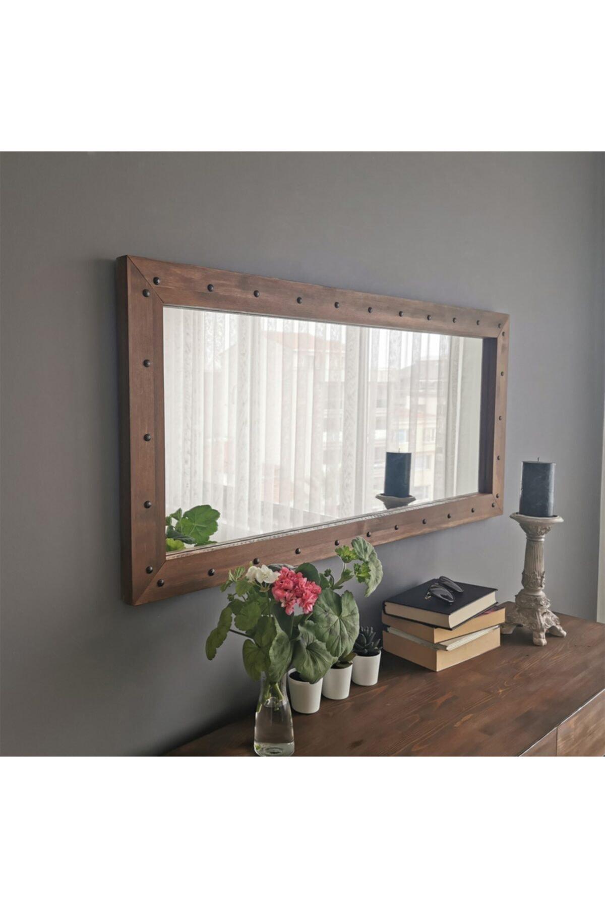 NEOstill - Ahşap Zımbalı Ceviz Ayna 110x50 1
