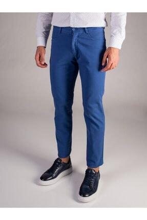 Dufy Mavi Düz Erkek Pantolon - Slım Fıt