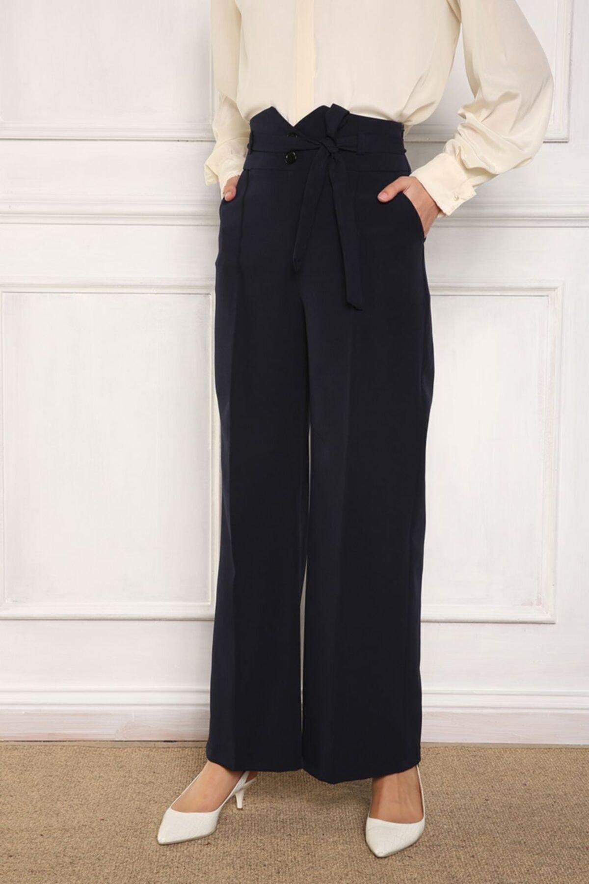 ALLDAY Lacivert Kemer Detaylı Cepli Kuşaklı Pantolon 1