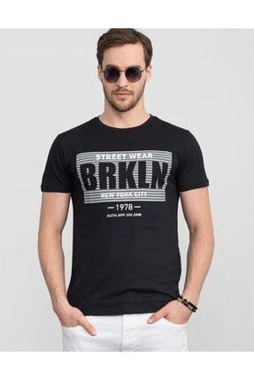 Tudors Slim Fit Bisiklet Yaka Baskılı Erkek T-shirt