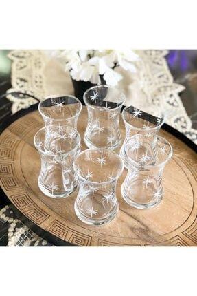 Paşabahçe El Dekorlu Yıldız Işlemeli 6 Kişilik 12 Parça Çay Cam Bardağı Seti