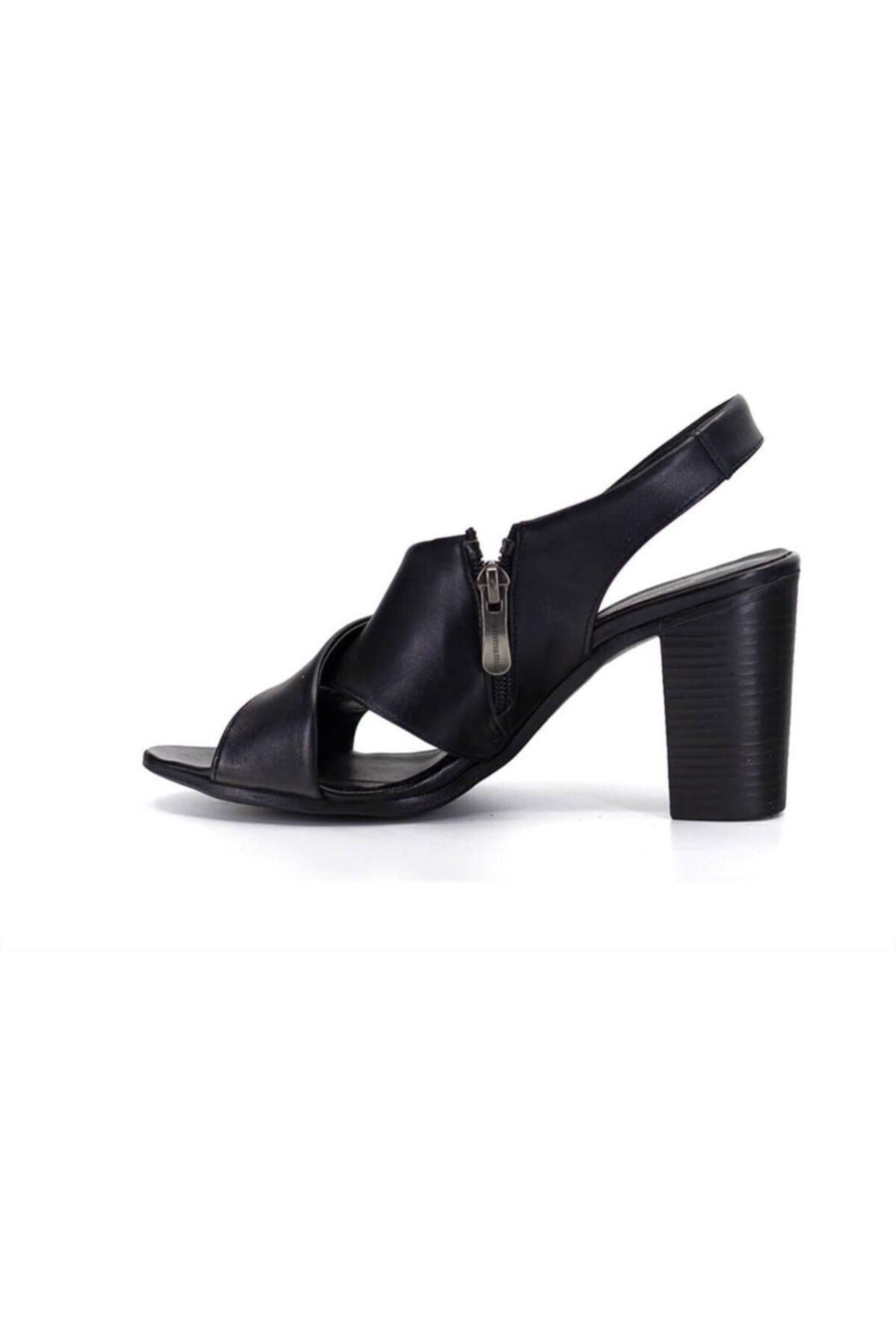 Mammamia 1050 Siyah Deri Trend Sandalet 2