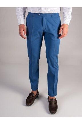 Dufy Indigo Armür Sık Dokuma Erkek Pantolon - Slım Fıt