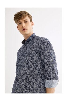Avva Erkek Lacivert Çiçek Baskılı Düğmeli Yaka Slim Fit Gömlek A01s2224