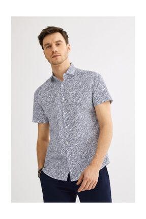 Avva Erkek Lacivert Baskılı Klasik Yaka Slim Fit Kısa Kol Gömlek A01y2090