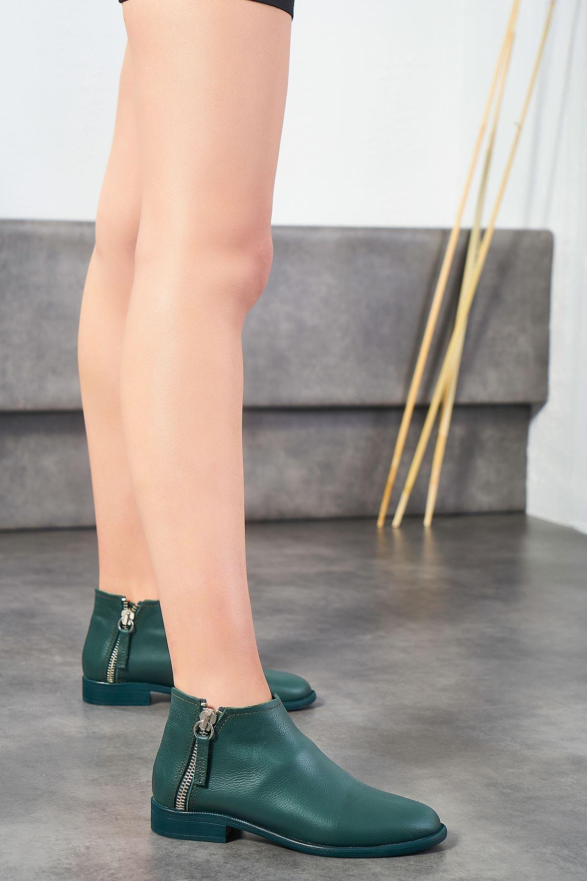 Louis Cardy Lima Yeşil Hakiki Deri Kadın Bot 1