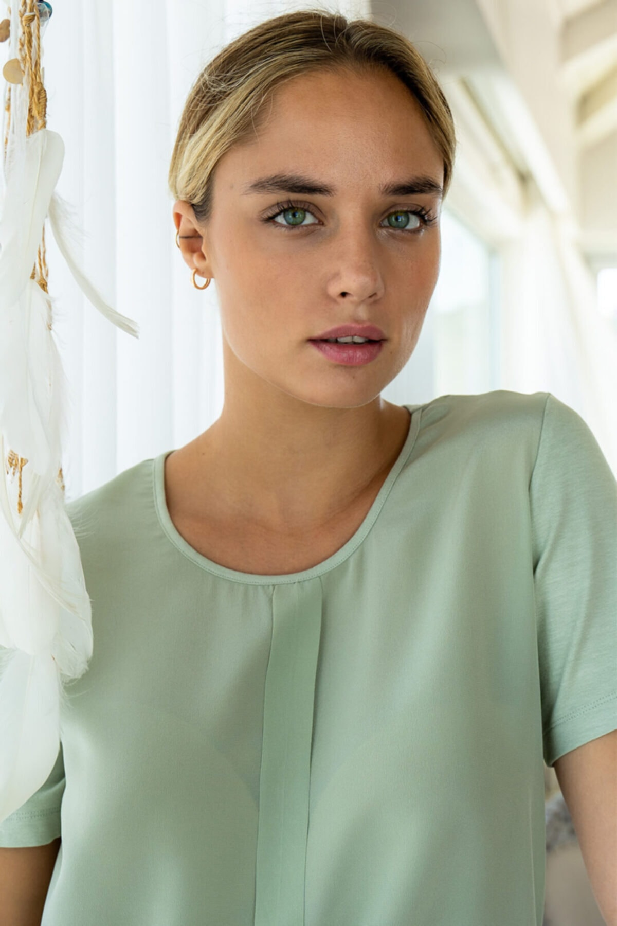Silk and Cashmere Ipek Karışımlı Monica Yuvarlak Yaka Bluz 1