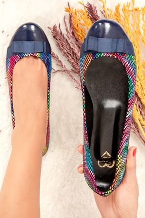 Fox Shoes Lacivert Multi Kadın Babet 9726019507