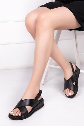 Deripabuc Hakiki Deri Siyah Kadın Deri Sandalet Crz-0544