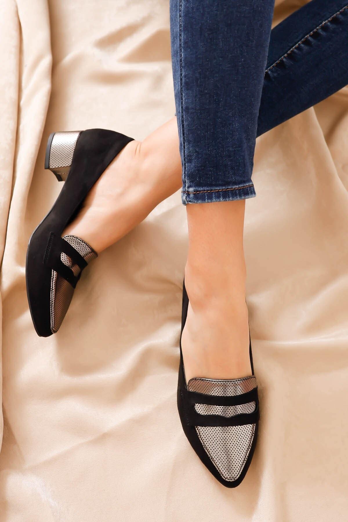 Hayalimdeki Ayakkabı Mia Topuklu Siyah Süet Platin Detay Ayakkabı 1