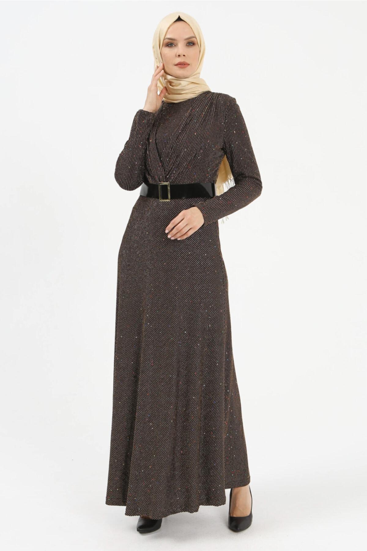Setrms Işıltılı Kruvaze Yaka Detaylı Kemerli Elbise 2