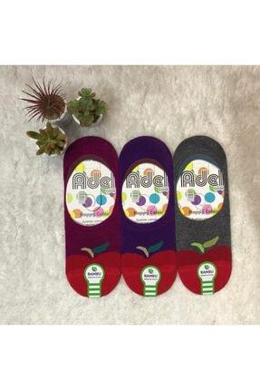 ADEL ÇORAP Kiraz Desenli 3'lü Kadın Bambu Silikonlu Babet Çorap