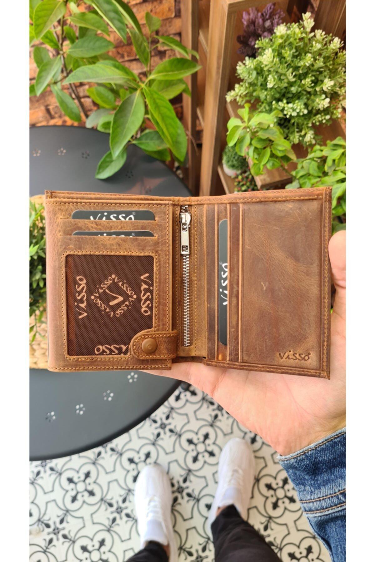 Visso leather Visso 114 Hakiki Deri Cüzdan Erkek Kadın Deri Kartlı Cüzdan Çanta 1