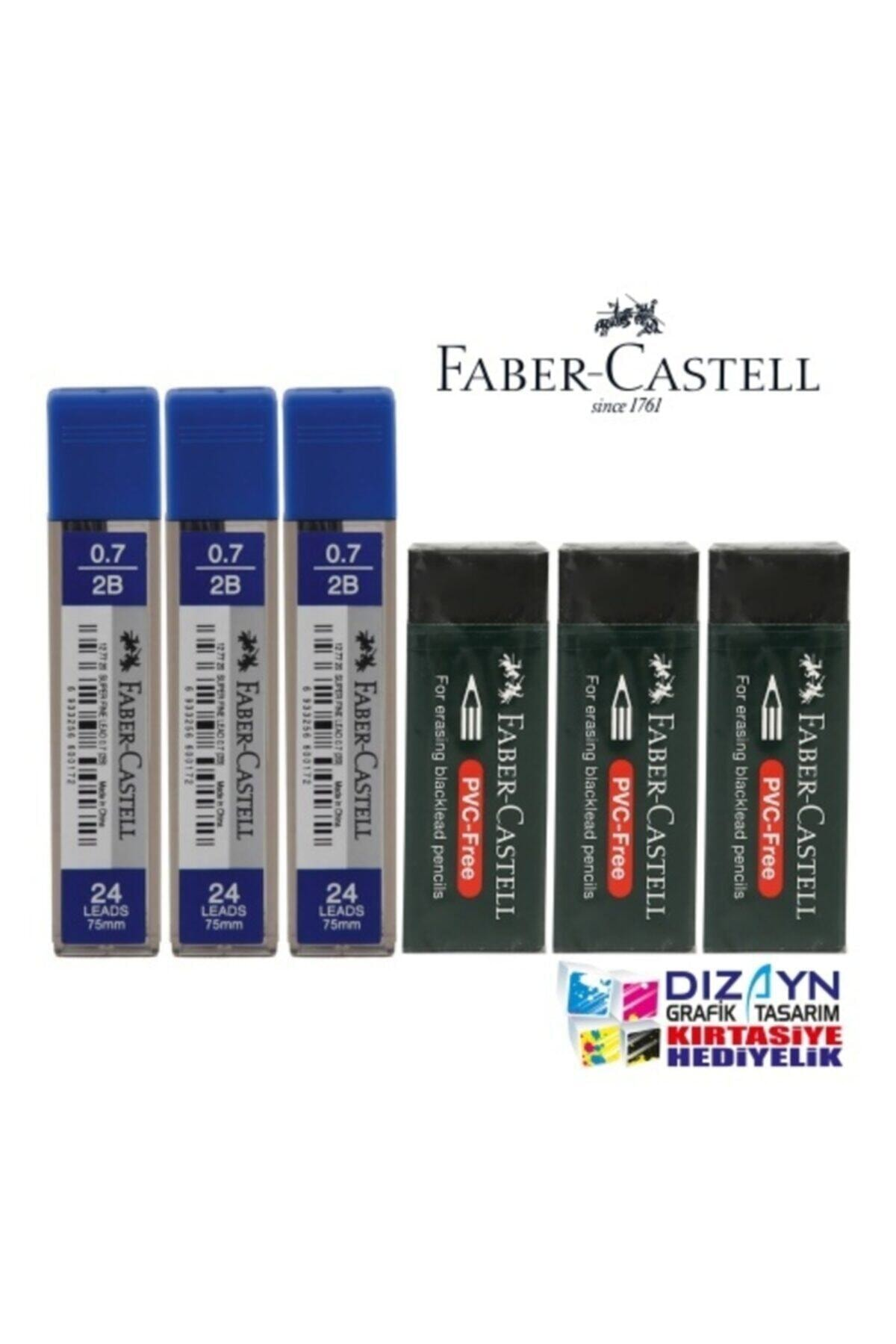 Faber Castell 3 Adet 0,7 Min 2b + 3 Adet Büyük Siyah Silgi Set 1