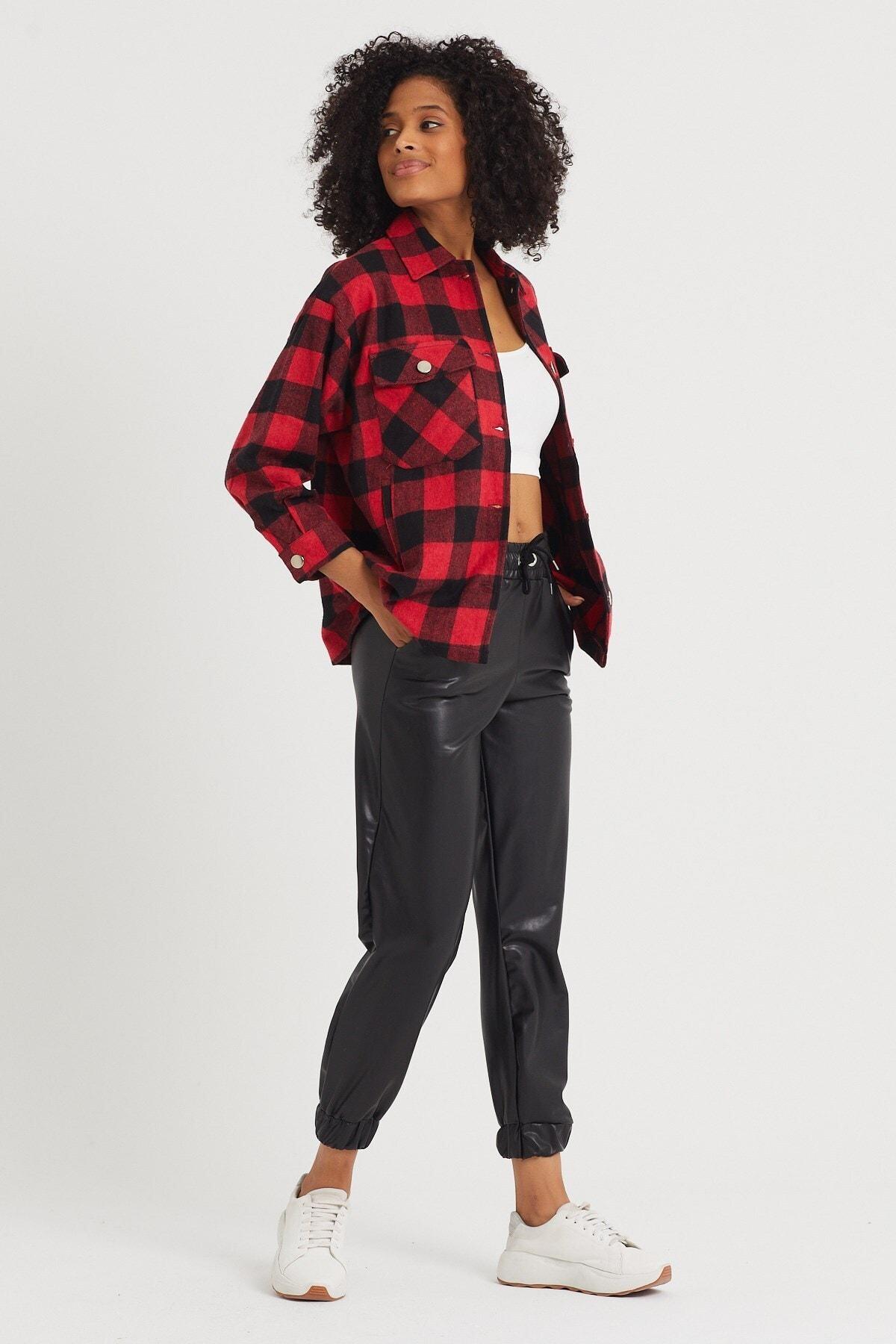 4Sisters Fashion Yandan Cep Detaylı Kırmızı Siyah Ekoseli Oduncu Ceket Gömlek 2