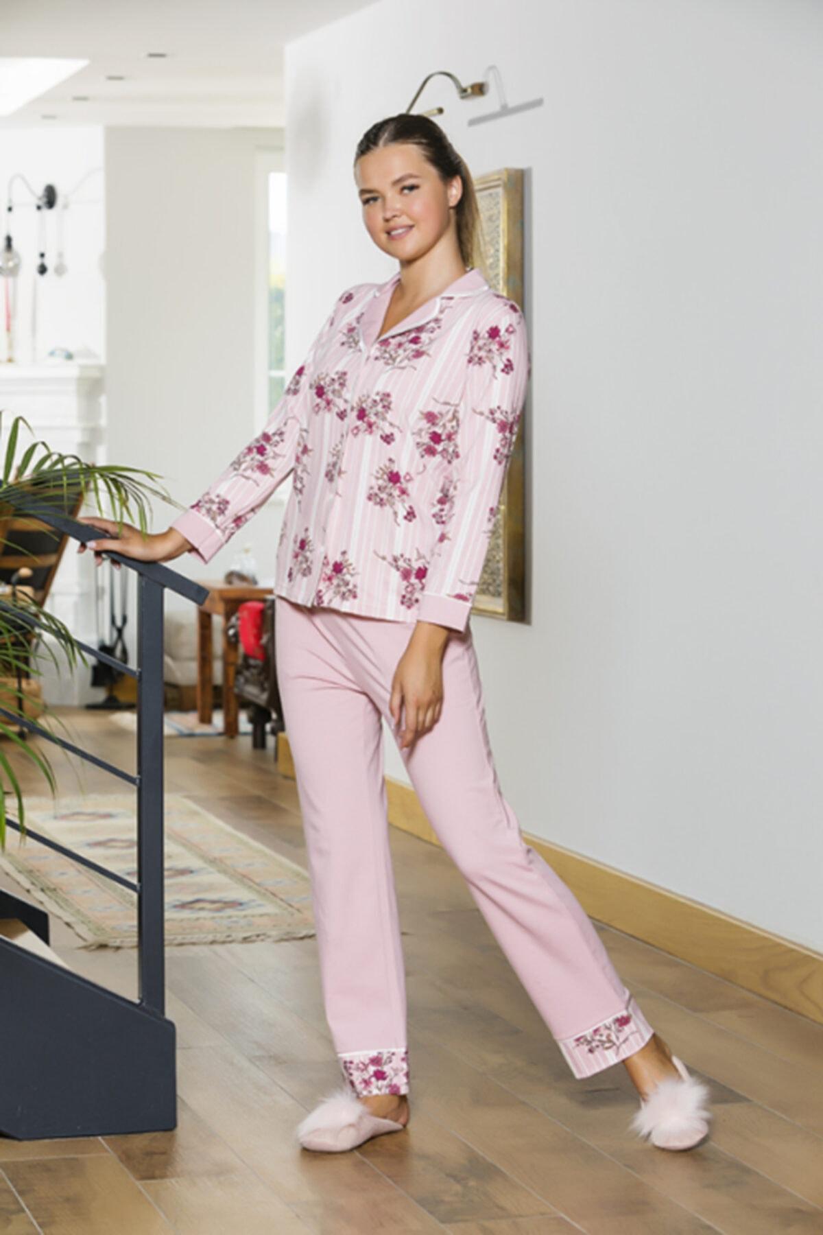 STYLE SENFONİ Bayan Önden Düğmeli Şardonlu Licralı Kışlık Pijama 1