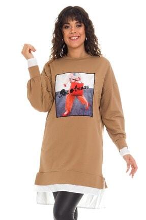 Loreen 30111 Önü Baskılı Gömlek Detaylı Tunik