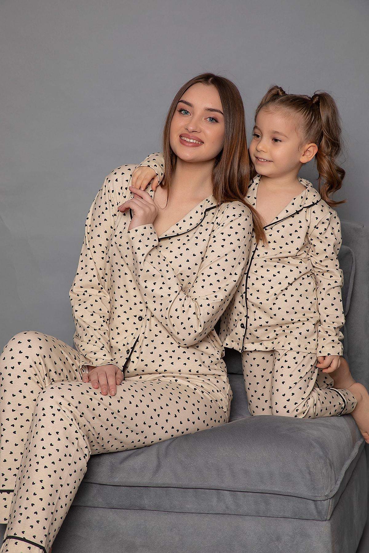 ELİTOL Pamuklu Likralı Anne-kız Düğmeli Pijama Takım 1
