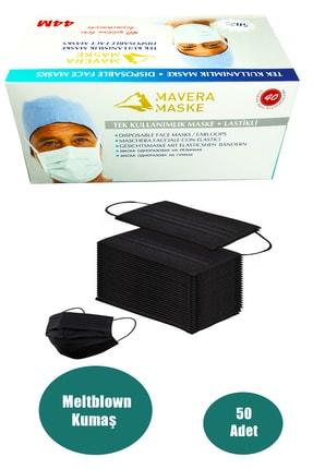 Zirve 3 Katlı Filtreli Burun Telli Cerrahi Maske 50'li Paket -yumuşak Elastik Kulaklı Siyah