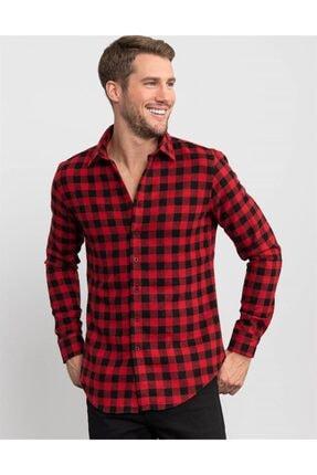 Tudors Slim Fit Unisex Kışlık Kareli Kırmızı Gömlek