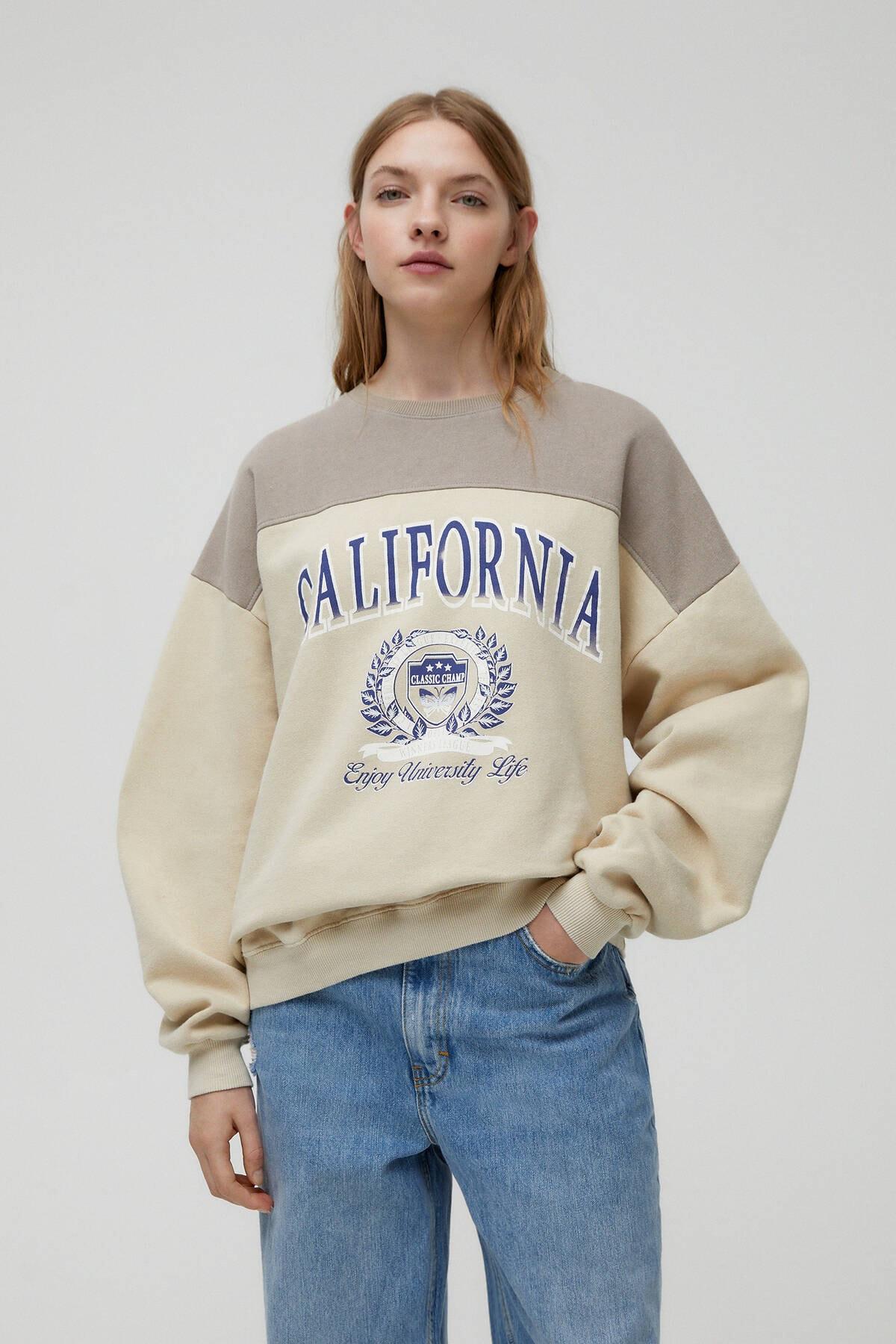 Pull & Bear Kadın Boz Kahve California Parçalı Kahverengi Sweatshirt 04591342