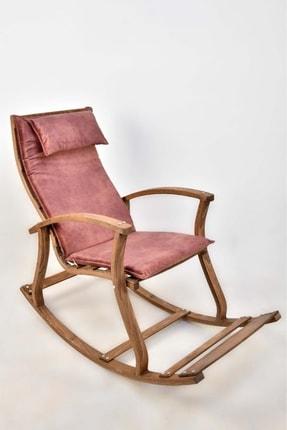 SARBUNU Ahşap Dinlenme Kitap Okuma Tv Koltuğu Sallanan Sandalye Gülkurusu Renk Minder