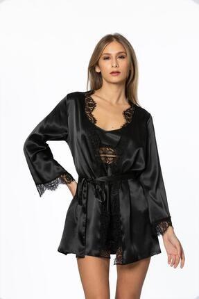 Pierre Cardin Kadın Siyah  Saten Dantelli 3'lü Pijama Şort  & Sabahlık Takım  2490