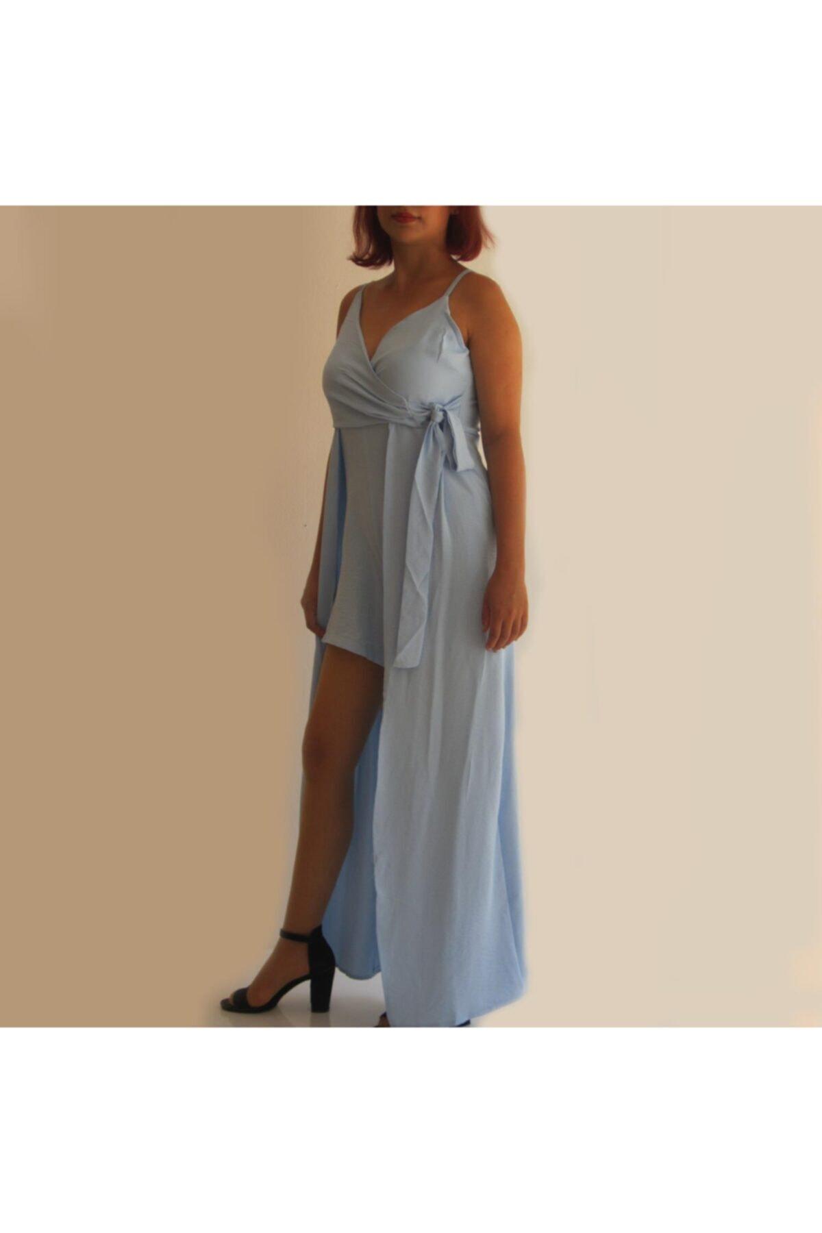 Zirve Açık Mavi Ayarlanır Askılı Şortlu Elbise 1