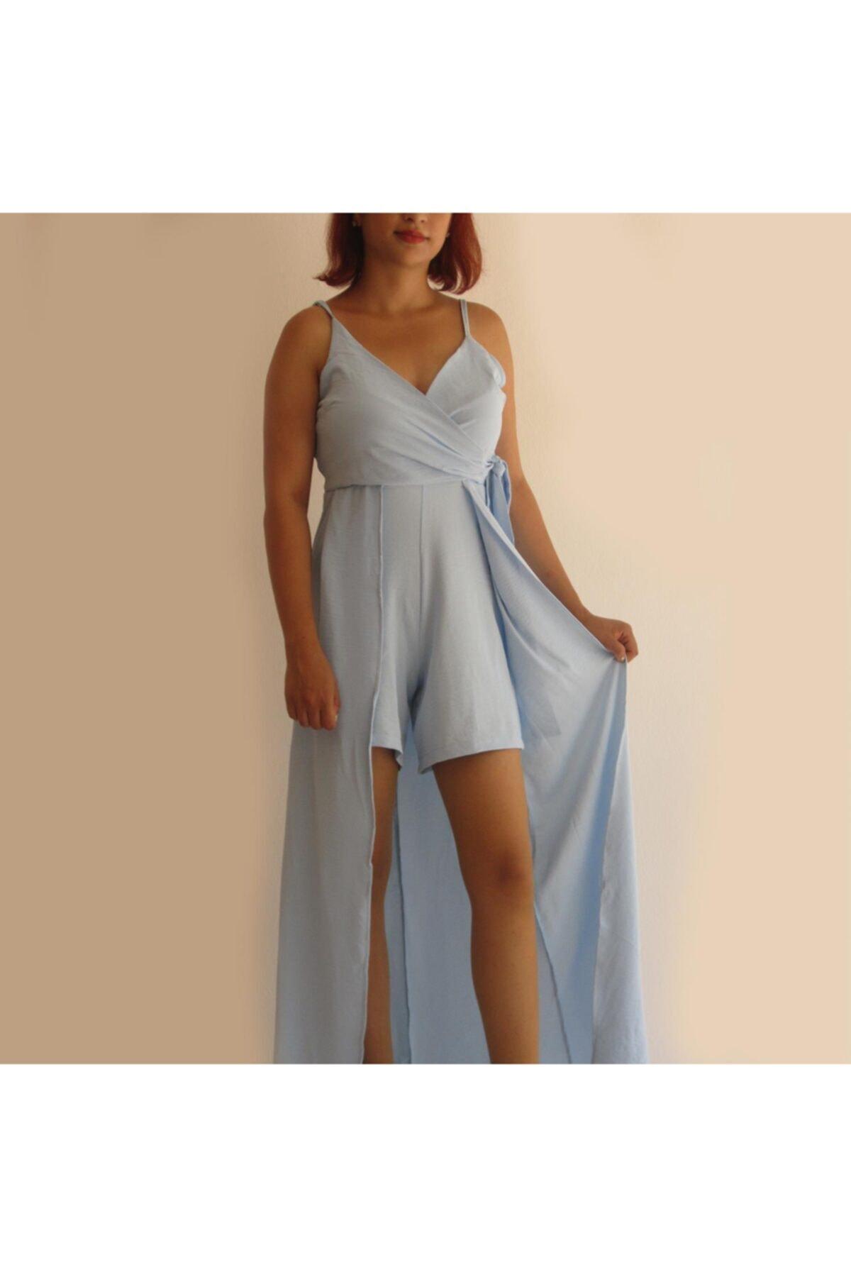 Zirve Açık Mavi Ayarlanır Askılı Şortlu Elbise 2