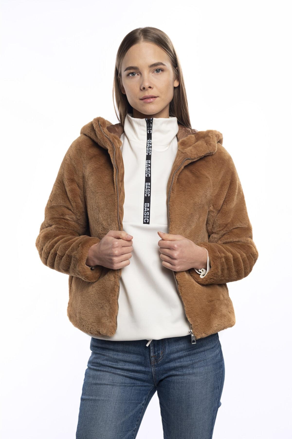 Vero Moda Kadın Kahverengi Kapüşonlu Kürk 10230893 Vmthea 2