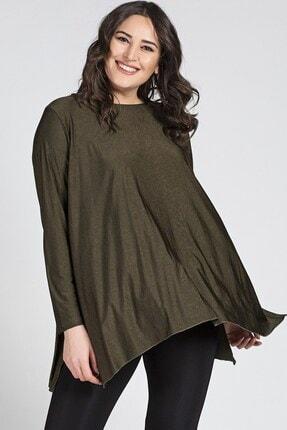 Womenice Büyük Beden Yeşil Yırtmaçlı Uzun Kol Salaş Tunik