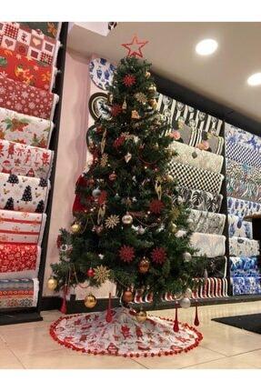 TUE HOME DİZAYN Çam Ağacı Örtüsü Beyaz Taban Noel Baba