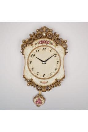 Regal Renkli Oymalı Kasa, Elişi Boyama Sarkaçlı Saat 18560 Gı