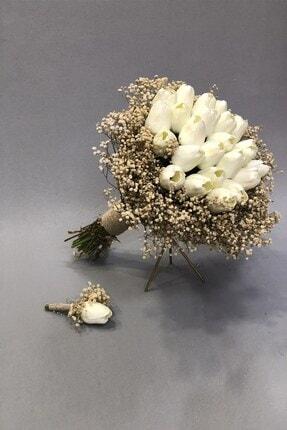 Hayalperest boncuk Islak Beyaz Laleli Cipsolu Gelin Buketi Ve Yaka Çiçeği