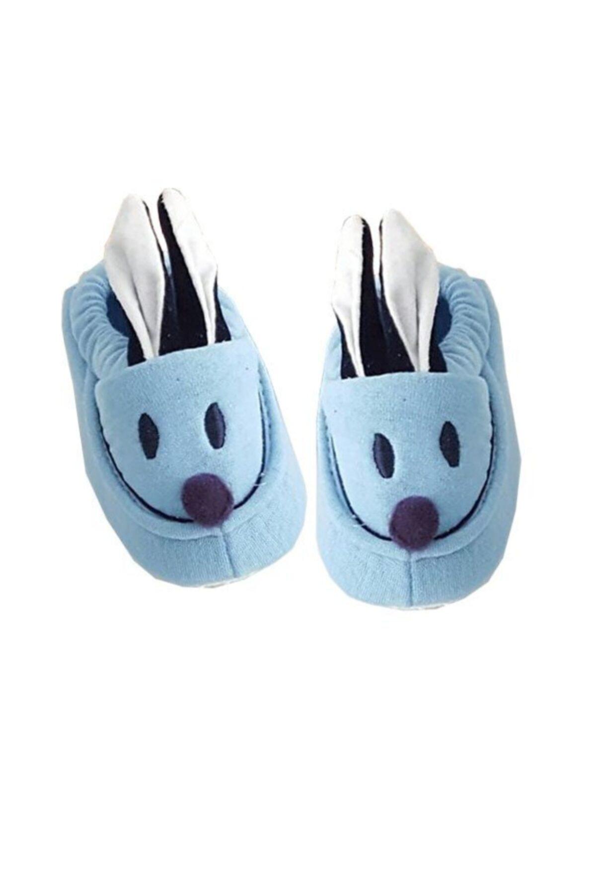 bebegen Tavşan Kulaklı Penye Kaymaz Taban Bebek Panduf Patik Mavi 1