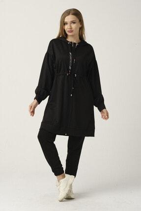Loreen Kadın Sweatshirt Siyah Kapüşonlu Fermuarlı Beli Büzgülü