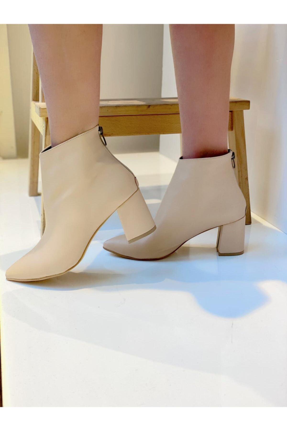 Mel Butik by Gizem Yüncü Mel Shoes Kadın Nude Topuklu Bot Mel0002020-10 2