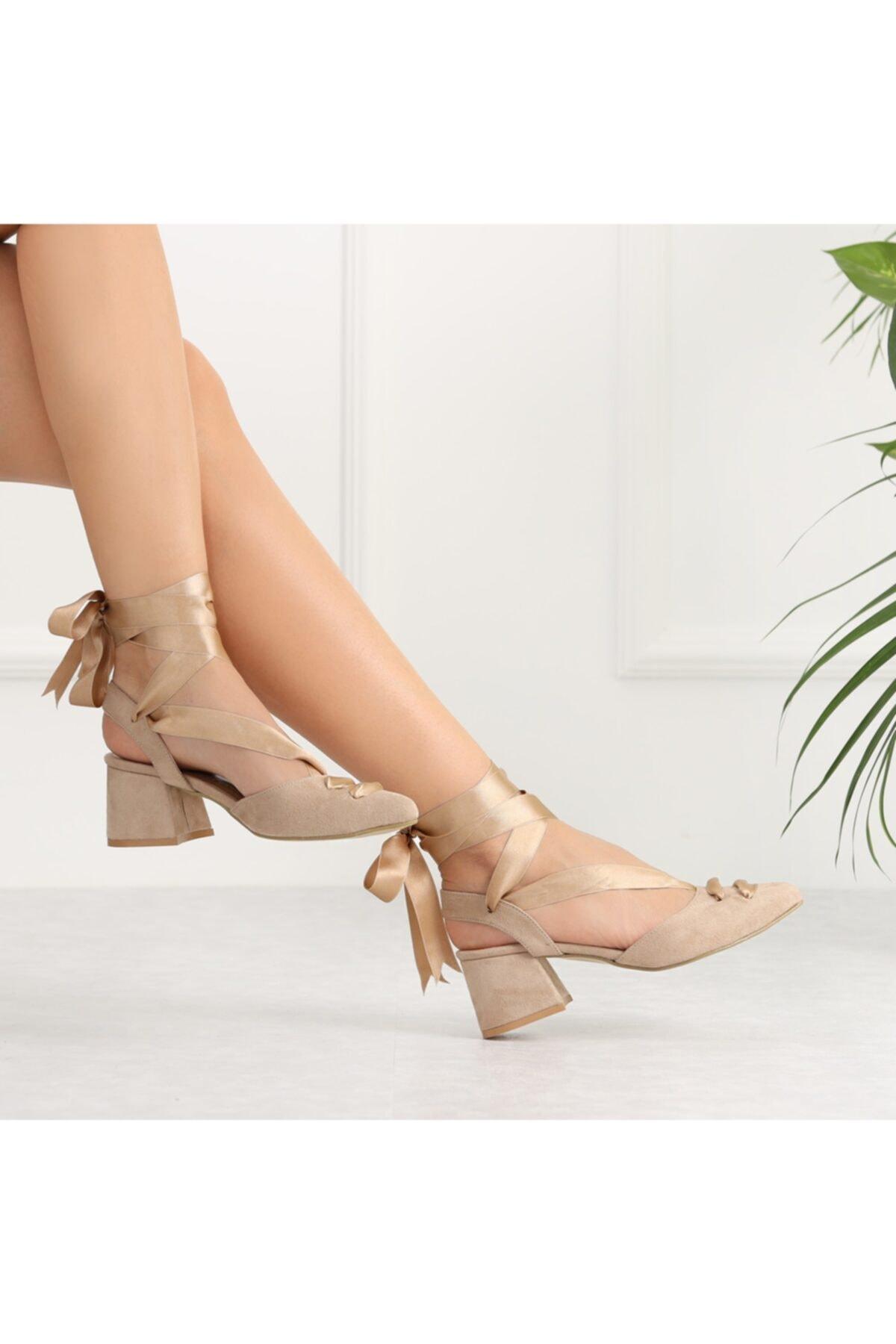 Ayakkabı Delisiyim Lopera Bej Süet Bağlamalı Kısa Topuklu Kadın Ayakkabı 1