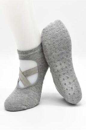 new urart Kadın Pamuklu Altı Kaydırmaz Düz Pilates Ve Yoga Çorabı