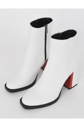 İLVİ Cole Hakiki Deri Kadın Beyaz Topuklu Bot