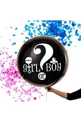 PapatyamPartiEvi Siyah Cinsiyet Belirleme Balon Jumbo Boy 36 Inç