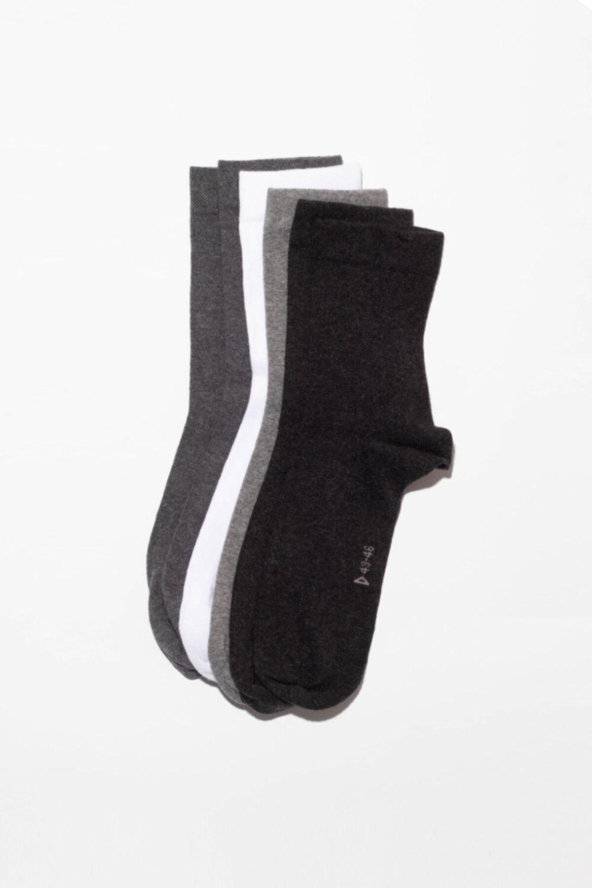 Katia&Bony 6'li Paket Unisex Basıc Soket Çorap- Siyah/ Beyaz / Grı 1