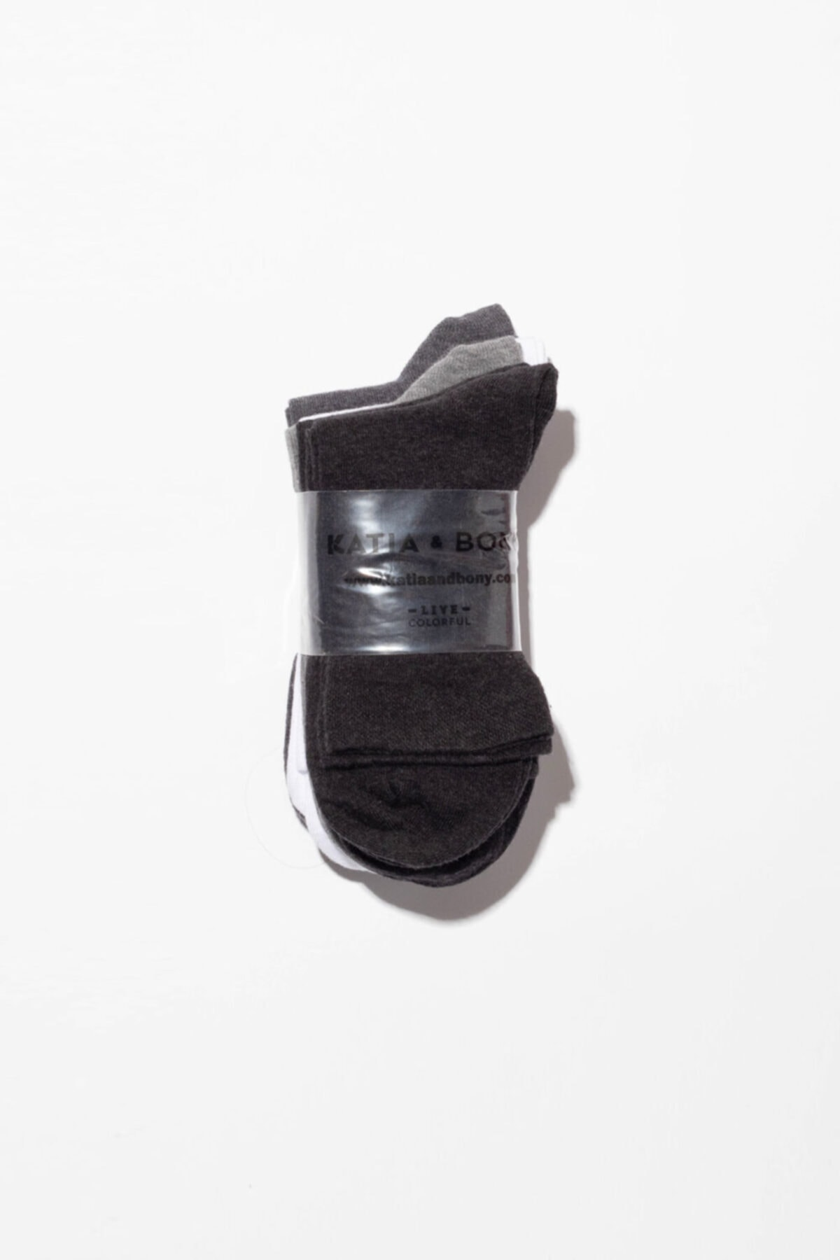 Katia&Bony 6'li Paket Unisex Basıc Soket Çorap- Siyah/ Beyaz / Grı 2