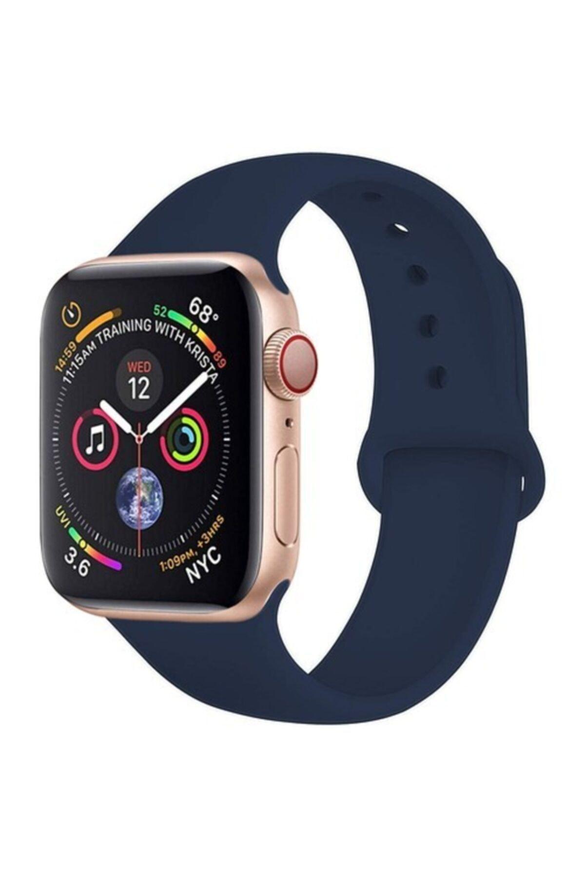 Bilişim Aksesuar Apple Watch 38 - 40 Mm Spor Kordon Silikon Kayış Lacivert 1