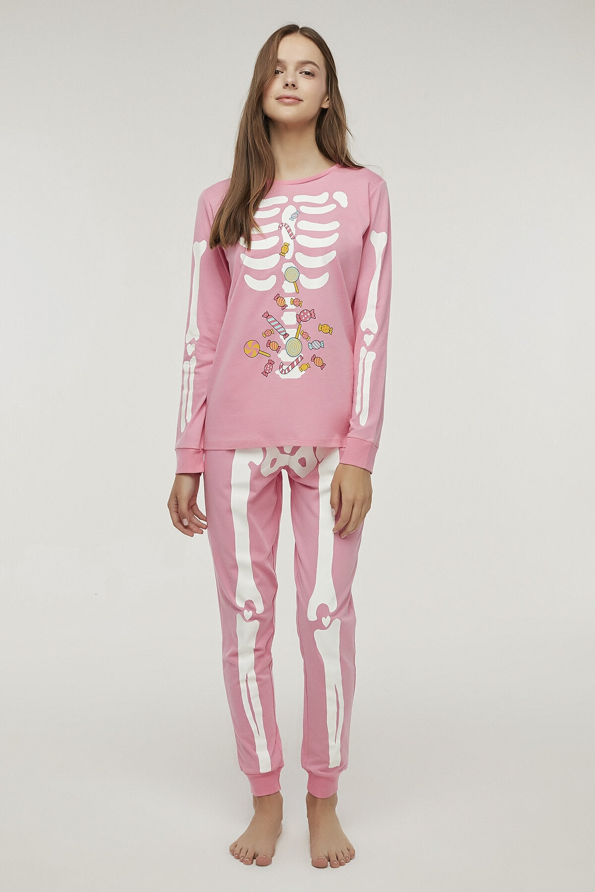 Penti Pembe Skeleton Pijama Takımı 2