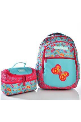 KAUKKO Kids Love Butterfly Sırt Çantası Rubber L5024 Beslenme Çantalı Set