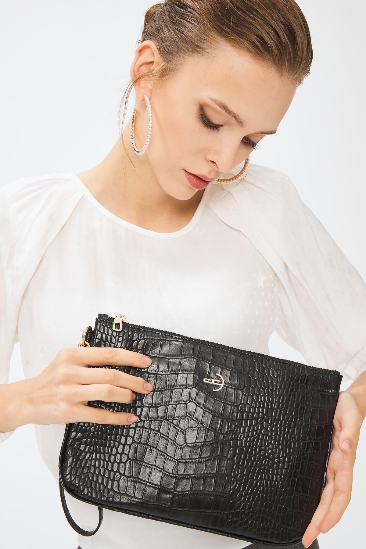 Deri Company Kadın Basic Clutch Çanta Kroko Timsah Desen Siyah 214002 2
