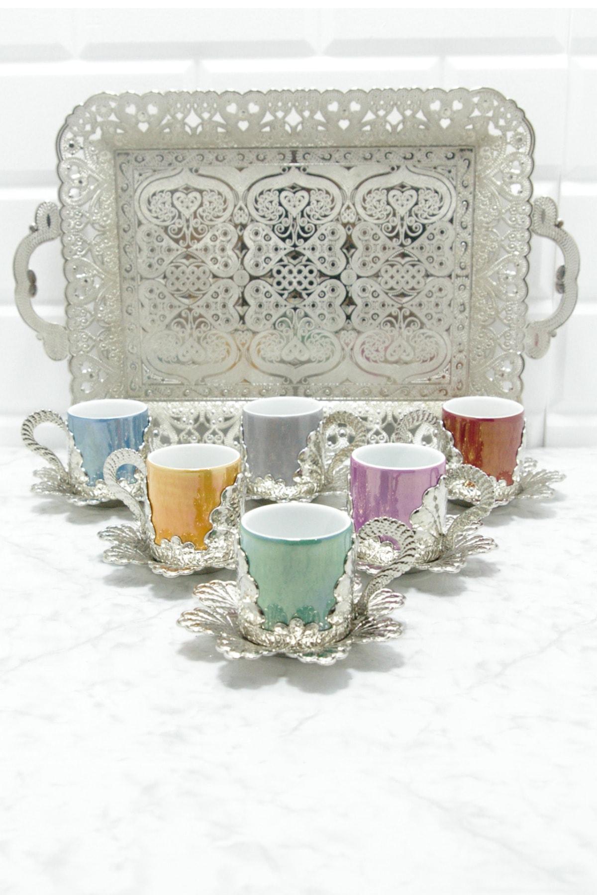 MAY HOME El Işlemesi Bakır 6 Kişilik Fincan Seti Porselen Hazneli 2