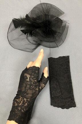 Hayalperest boncuk Siyah Vualet Şapka Ve Dantelli Eldiven