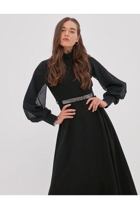 Kayra Kemeri Taşlı Balon Kol Elbise Siyah A20 23049